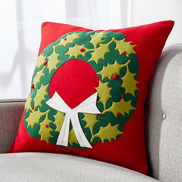 Holly Wreath Pillow - Image 1 of 6