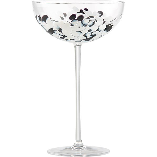 Hollywood Black and White Champagne Glass