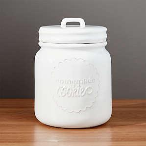 off White Tea Coffee Sugar Canisters Biscuit Tin Cookie Barrel Jar Storage Set