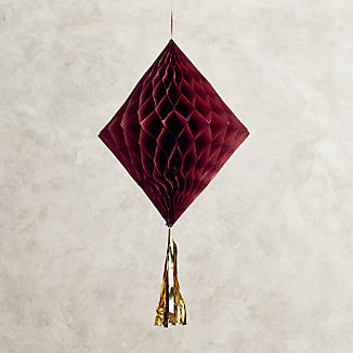 "16"" Wine Red Honeycomb Diamond with Tassel"
