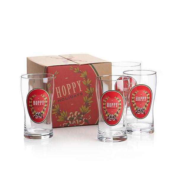 Set of 4 Hoppy Holidays Beer Glasses