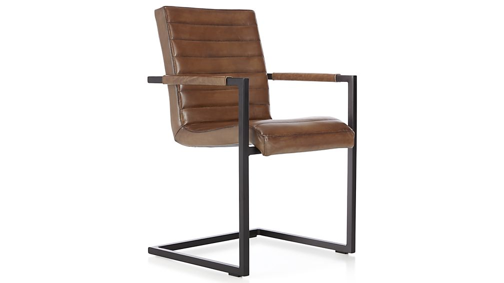 Hudson Channel-Stitched Brown Leather Dining Chair