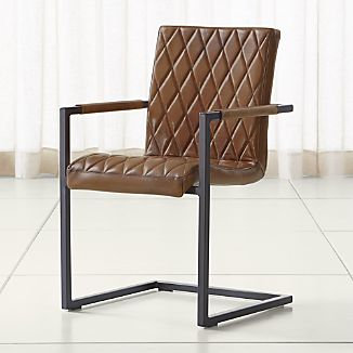 Hudson Diamond-Stitched Brown Leather Dining Chair