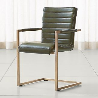 Hudson Channel-Stitched Green Leather Dining Chair