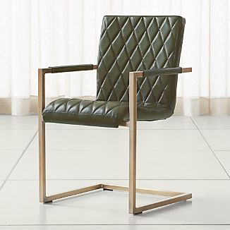 Hudson Diamond-Stitched Green Leather Dining Chair