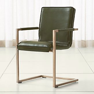 Hudson Green Leather Dining Chair
