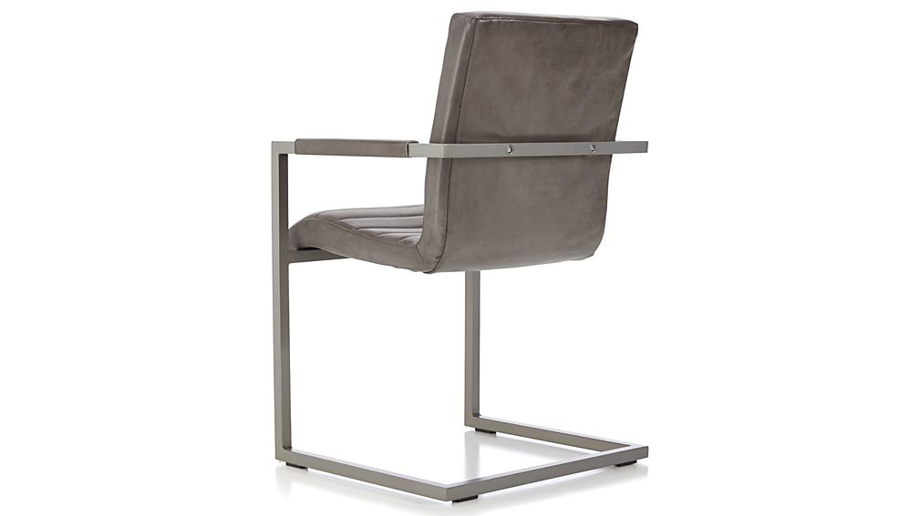 Hudson Channel-Stitched Grey Leather Dining Chair