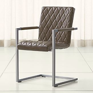 Hudson Diamond-Stitched Grey Leather Dining Chair