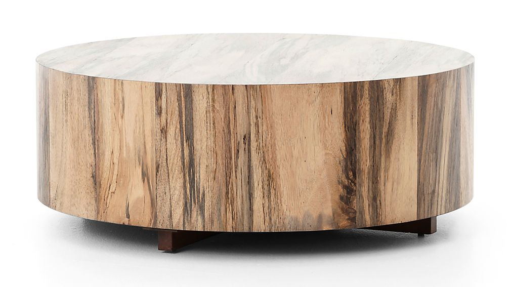 Hudson Spalted Primavera Round Wood Coffee Table Reviews Crate And Barrel