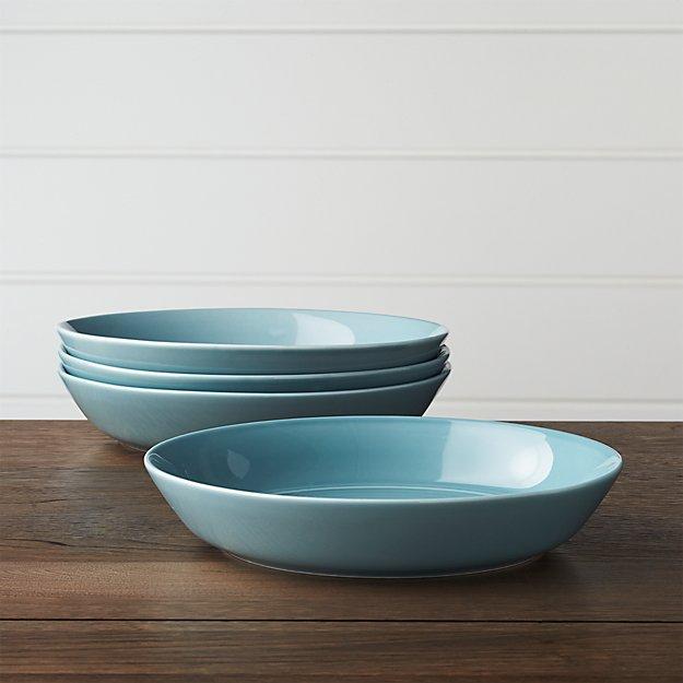 Set of 4 Hue Blue Low Bowls