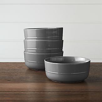 Set of 4 Hue Dark Grey Bowls