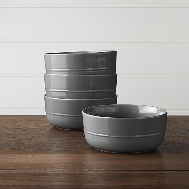Set of 4 Hue Dark Grey Bowls - Image 1 of 3