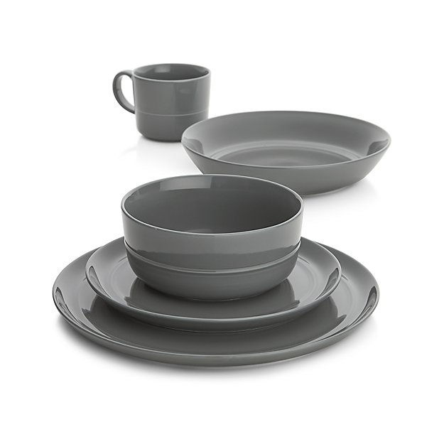 Hue Dark Grey Dinnerware Crate And Barrel