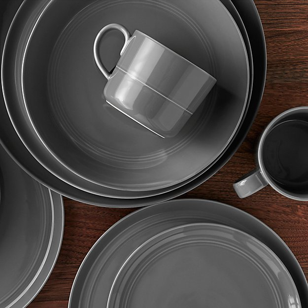 Hue Dark Grey Dinnerware | Crate and Barrel
