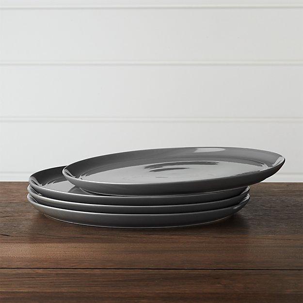 Set of 4 Hue Dark Grey Dinner Plates