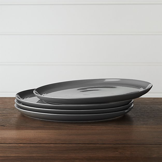 Set of 4 Hue Dark Grey Dinner Plates - Image 1 of 2