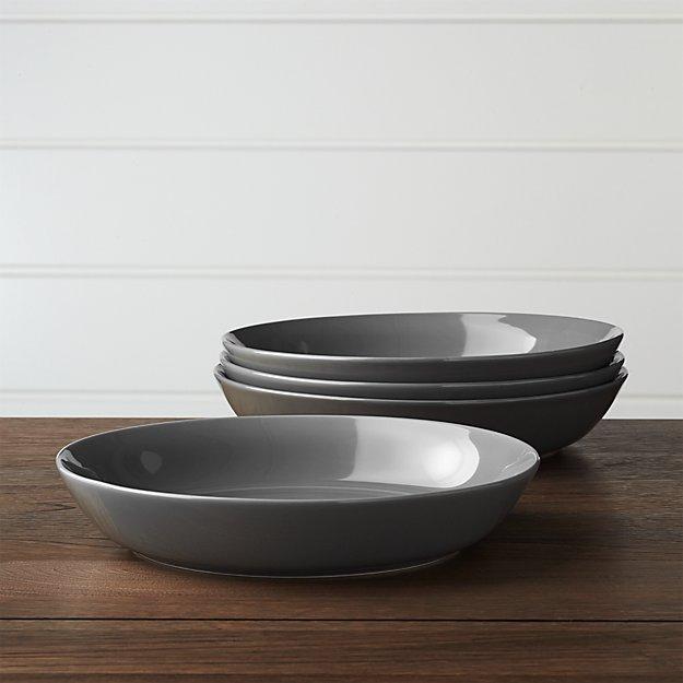 Set of 4 Hue Dark Grey Low Bowls - Image 1 of 3
