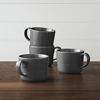 Set of 4 Hue Dark Grey Mugs
