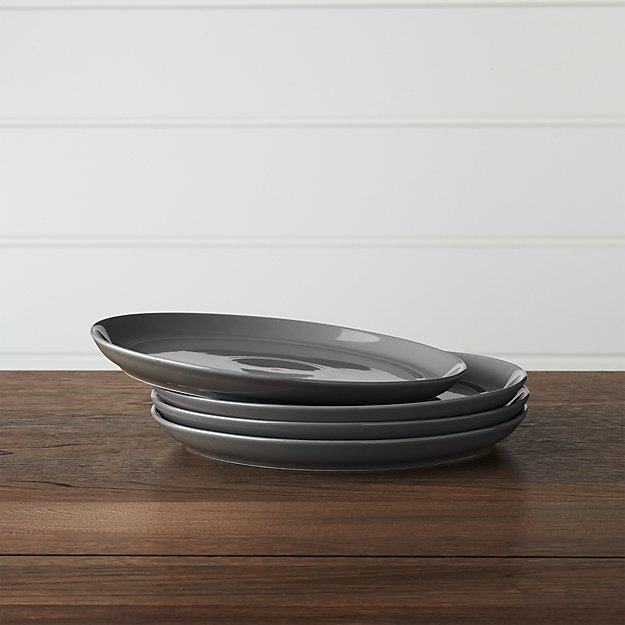 Set of 4 Hue Dark Grey Salad Plates - Image 1 of 3