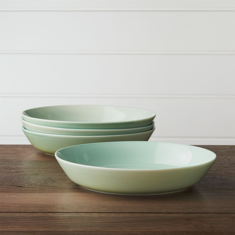Set Of 4 Hue Green Low Bowls by Crate&Barrel