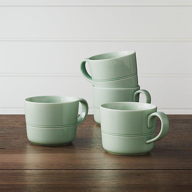 Hue Green Mugs, Set of 4