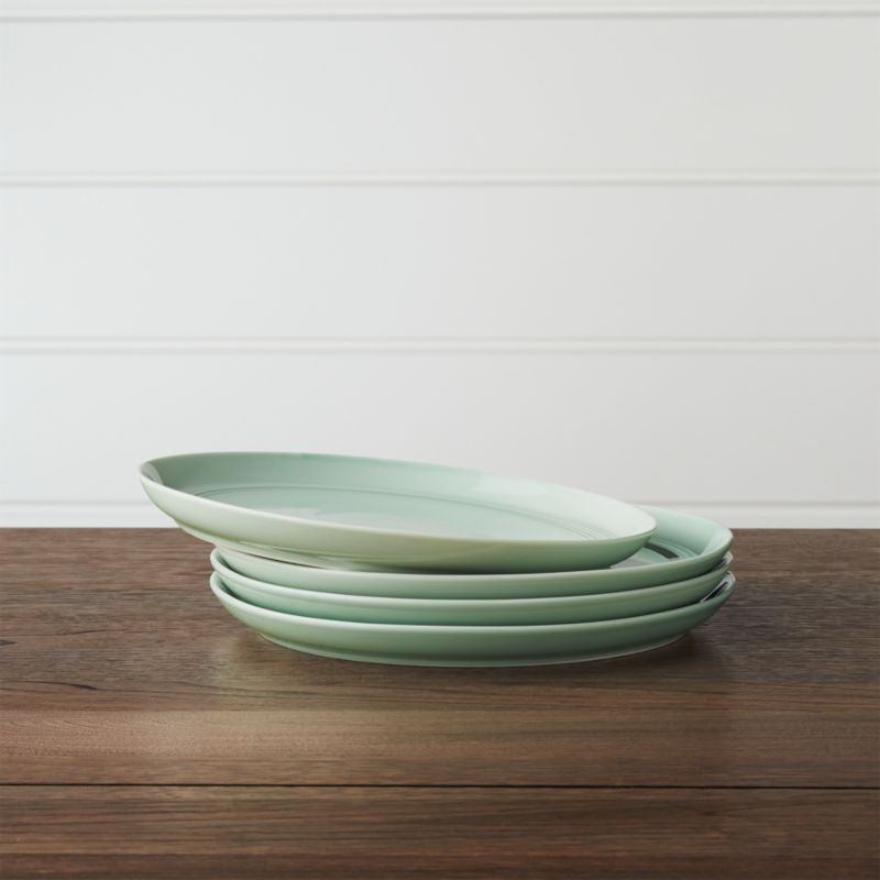 & Set of 4 Hue Light Grey Salad Plates + Reviews   Crate and Barrel