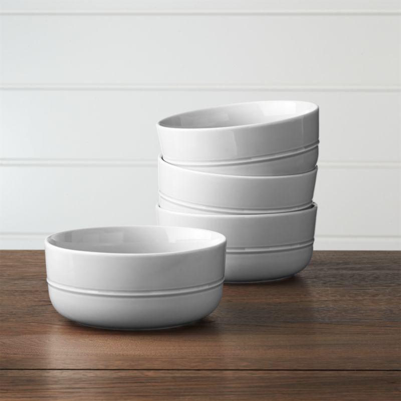 set of 4 hue light grey bowls reviews crate and barrel. Black Bedroom Furniture Sets. Home Design Ideas