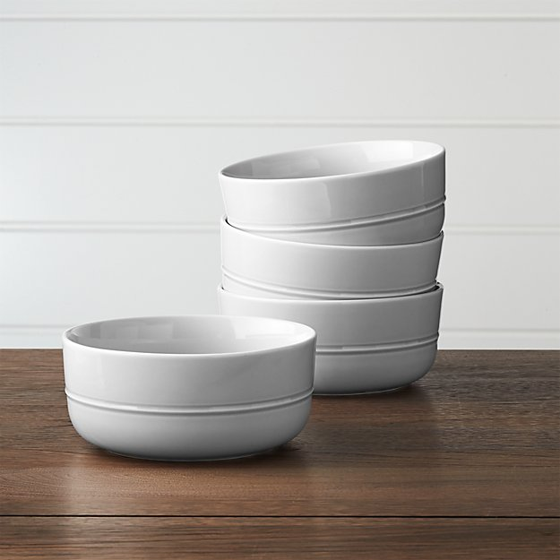 Set of 4 Hue Light Grey Bowls