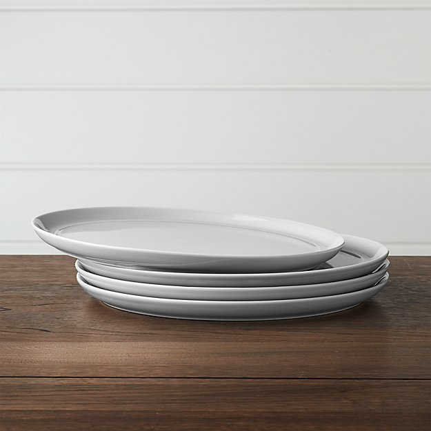 Set of 4 Hue Light Grey Dinner Plates + Reviews | Crate and Barrel