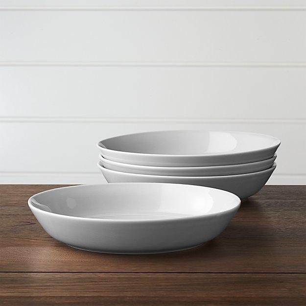 Set of 4 Hue Light Grey Low Bowls - Image 1 of 4