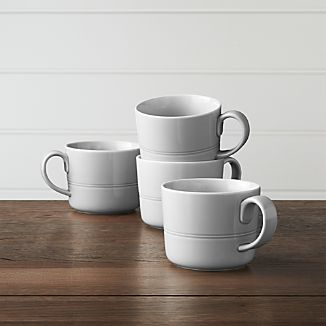 Hue Light Grey Mugs, Set of 4