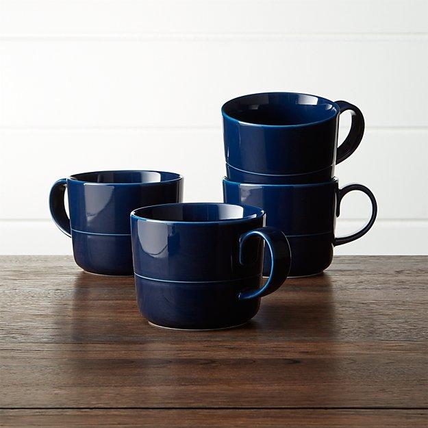 Hue Navy Blue Mugs, Set of 4 - Image 1 of 4