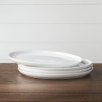Set of 4 Hue White Dinner Plates & Microwave Safe Plates | Crate and Barrel