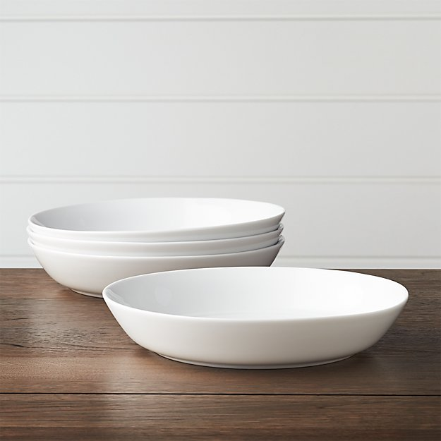 Set of 4 Hue White Low Bowls + Reviews | Crate and Barrel