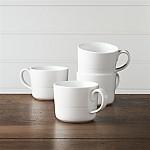 Hue White Mugs, Set of 4
