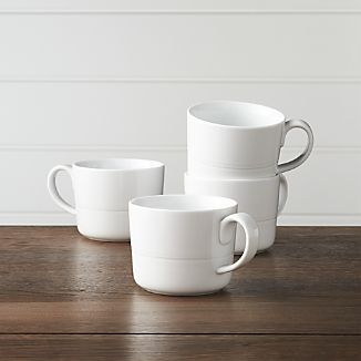 Hue White Mugs, Set of 4