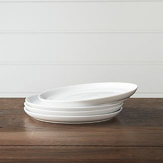 Set of 4 Hue White Salad Plates & White Plate Sets | Crate and Barrel