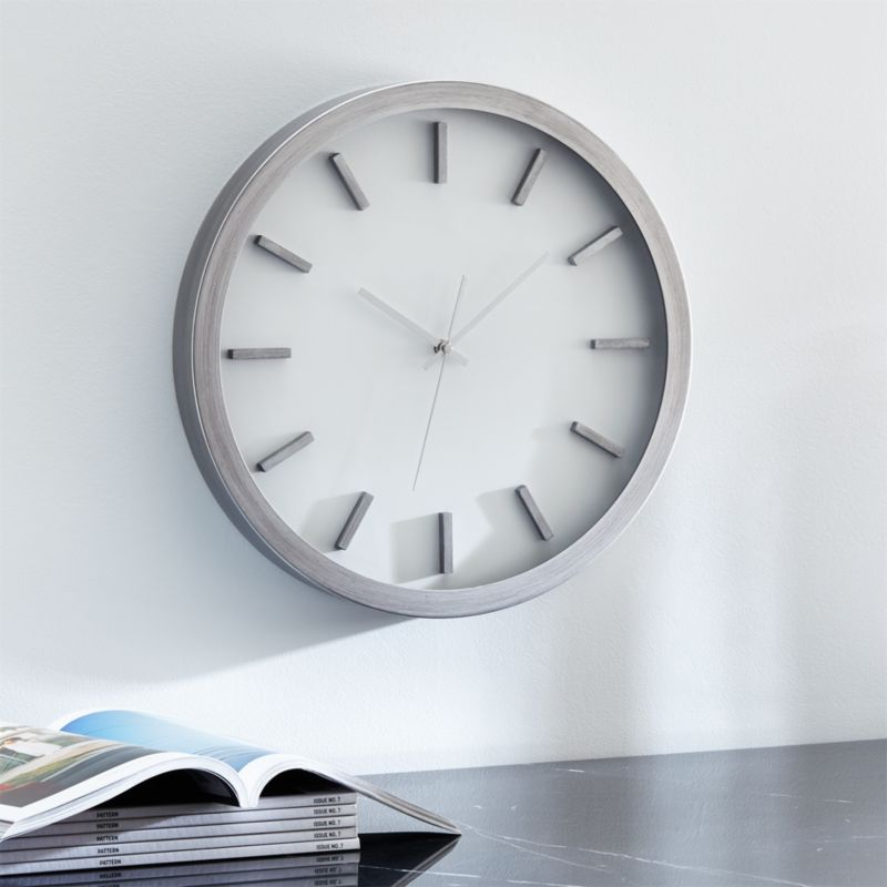 Huxley Brushed Silver Wall Clock Reviews Crate And Barrel