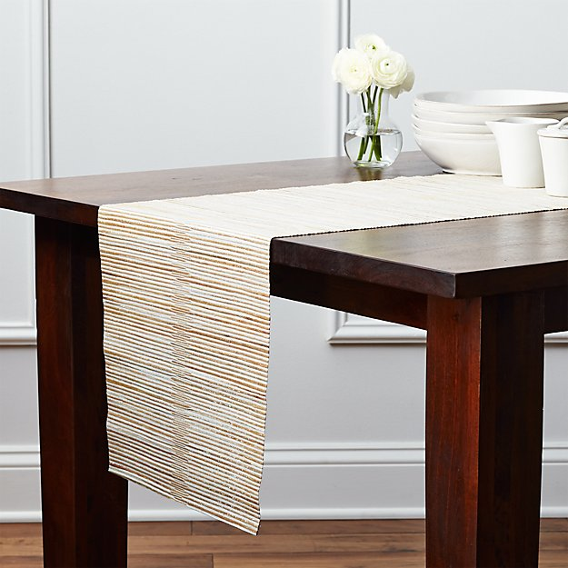 Hyacinth Metallic 120 Quot Table Runner Crate And Barrel