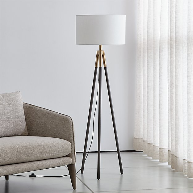 Hyde Br And Bronze Metal Tripod Floor Lamp Reviews Crate Barrel