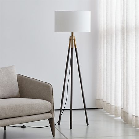 Bronze Metal Tripod Floor Lamp