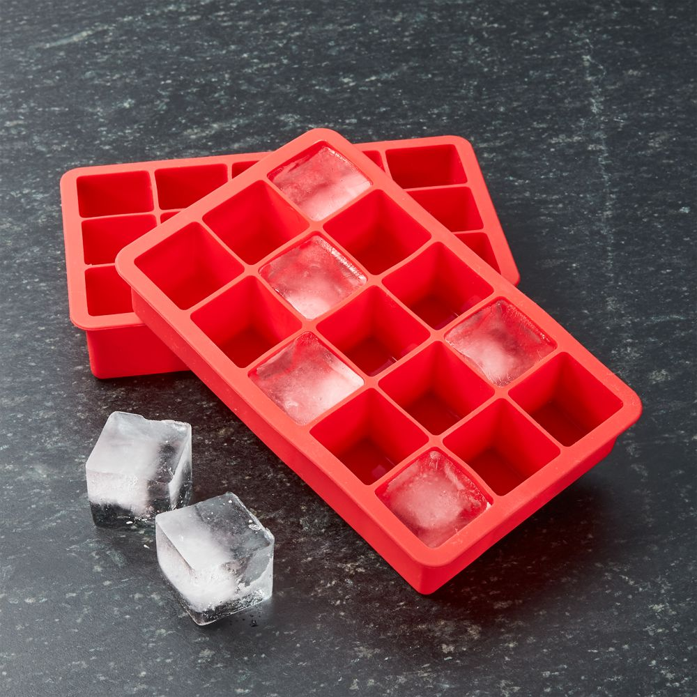 Red Ice Cube Trays Set of Two - Crate and Barrel