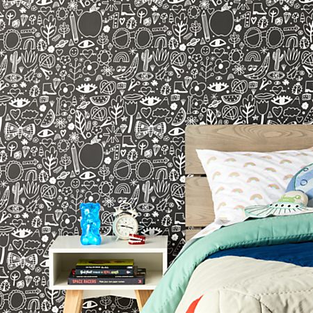 Chasing Paper White and Black Icons Removable Wallpaper + Reviews | Crate  and Barrel