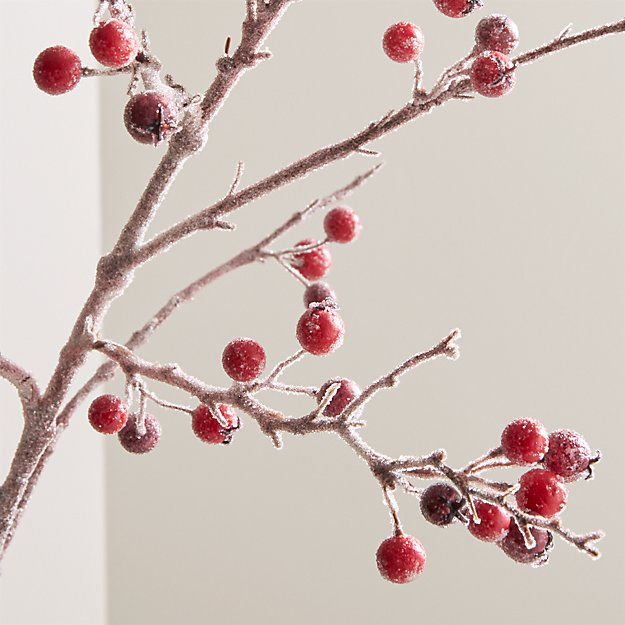 Icy Red Berry Stem Branch - Image 1 of 8