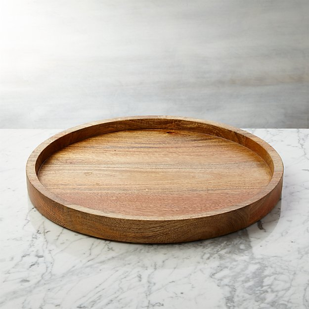 Wood Round Serving Tray Reviews Crate And Barrel