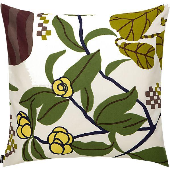 "Marimekko Ikkunaprinssi Beige and Green 20"" Pillow"