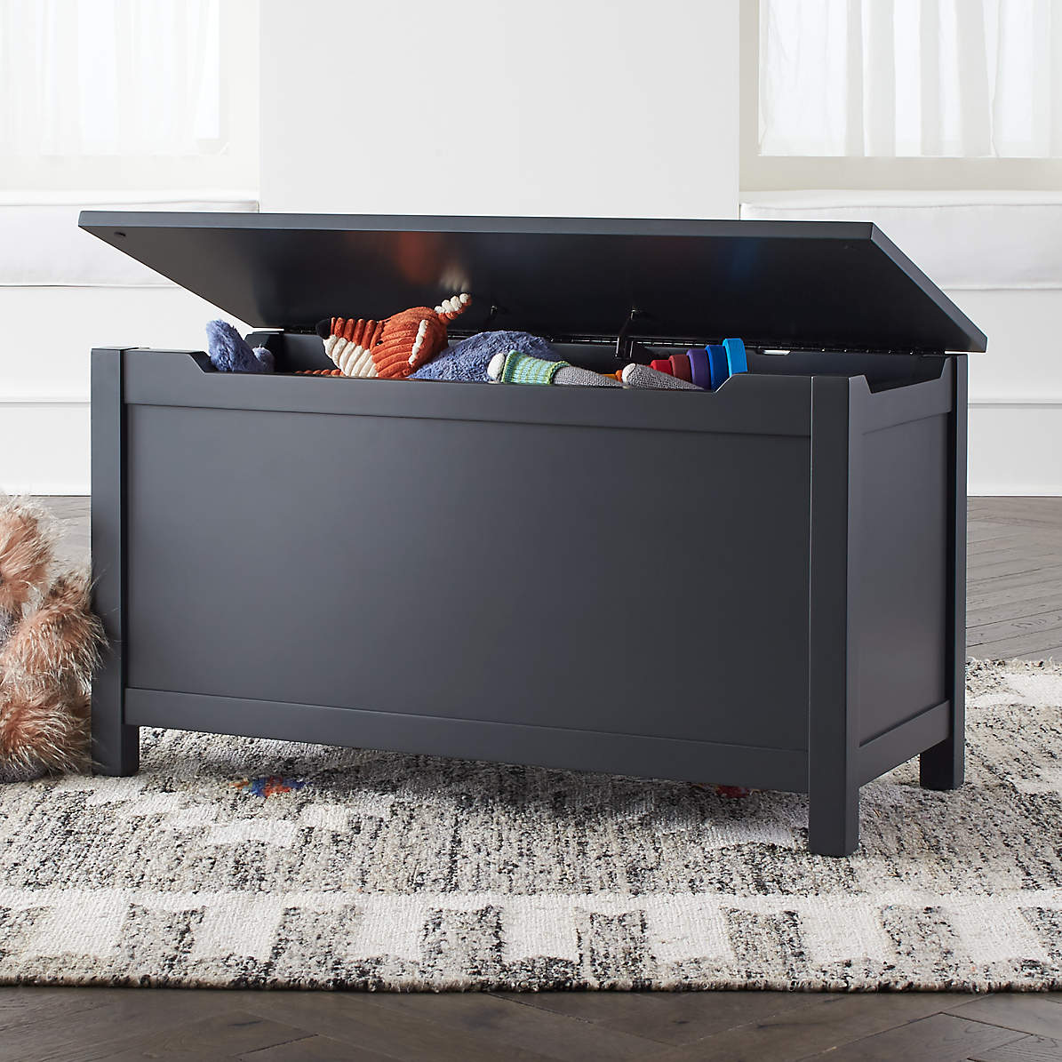 I M Just A Charcoal Wooden Toy Box Reviews Crate And Barrel