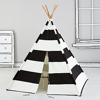 Black Stripe Teepee & Playhouses Teepees u0026 Tents | Crate and Barrel