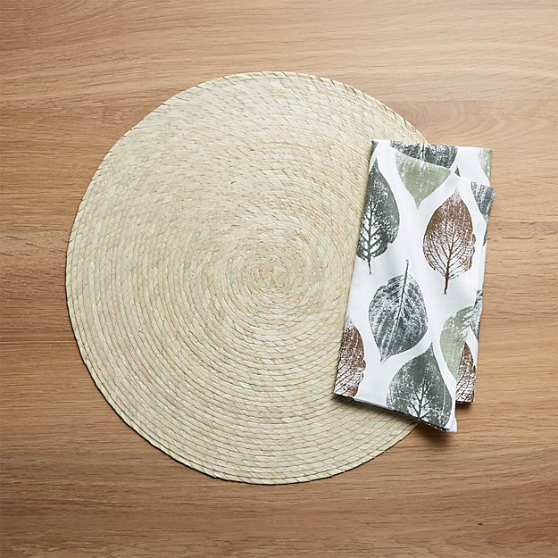 Tropical Palm Natural Placemat and Imprint Leaf Dinner Napkin