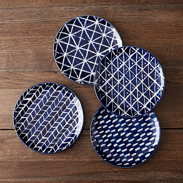 Indigo Blue Batik Plates Set of Four | Crate and Barrel
